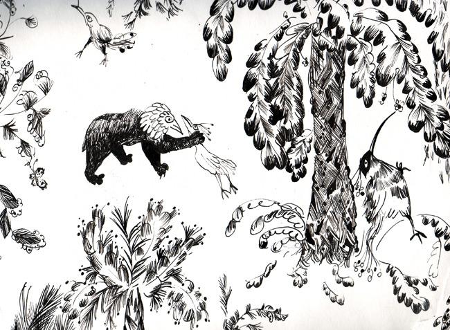 Bear n bird scene, detail: strangle