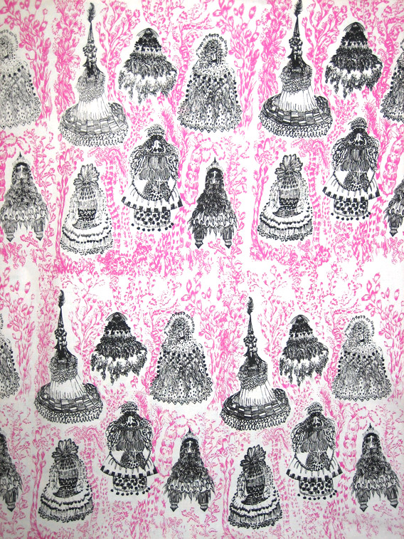 Floating Bird Emporers: Textile print