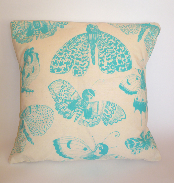 Blue Moths Cushion